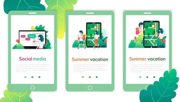 Conjunto de modelos de design de página da web para mídias sociais, férias de verão. conceitos de ilustração vetorial moderna para desenvolvimento de sites e sites móveis. Vetor Premium
