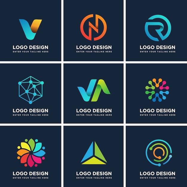 Conjunto de modelos de design moderno de logotipo Vetor Premium