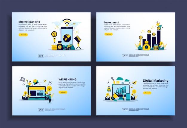 Conjunto de modelos de design moderno plana para negócios, internet banking, investimento, contratação de emprego, marketing digital Vetor Premium