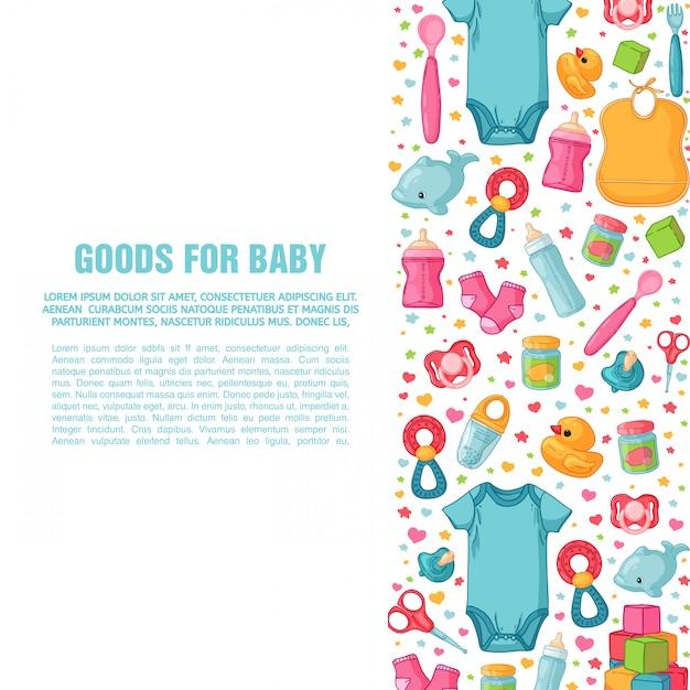 Conjunto de modelos de design para banners verticais com padrões de infância. equipe recém-nascida para decoração de folhetos. roupas, brinquedos, acessórios para bebês. cartaz quadrado com item infantil. . Vetor Premium