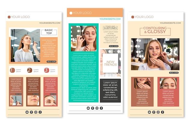 Conjunto de modelos de e-mail de blogger criativo Vetor grátis
