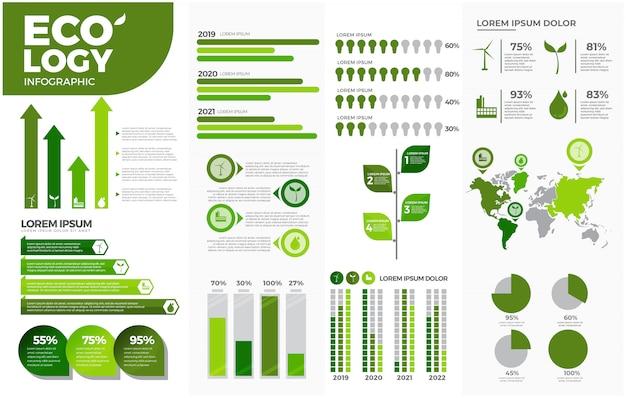 Conjunto de modelos de ecologia verde infográfico Vetor Premium
