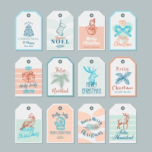 Conjunto de modelos de etiquetas ou etiquetas de presente de natal e ano novo pronto para usar. Vetor grátis