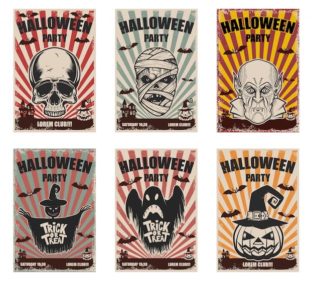 Conjunto de modelos de halloween. personagens de monstro. elementos para cartaz, cartão, banner. ilustração Vetor Premium