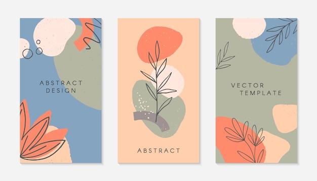 Conjunto de modelos de histórias criativas com espaço de cópia para texto. layouts modernos com formas e texturas orgânicas desenhadas à mão. Vetor Premium