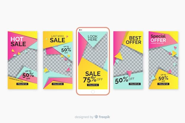 Conjunto de modelos de histórias do instagram de venda Vetor grátis