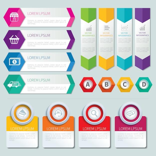 Conjunto de modelos de infográfico Vetor Premium