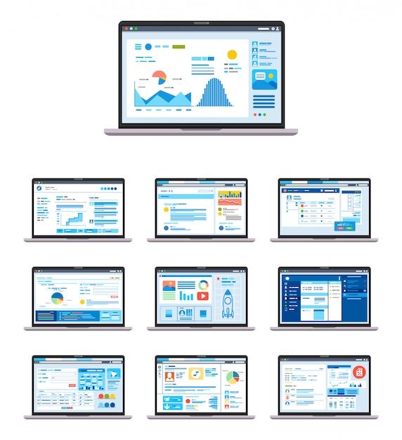 Conjunto de modelos de interface gráfica do usuário, ux e gui Vetor Premium
