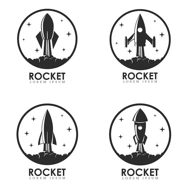 Conjunto de modelos de logotipo com o lançamento do foguete. Vetor Premium