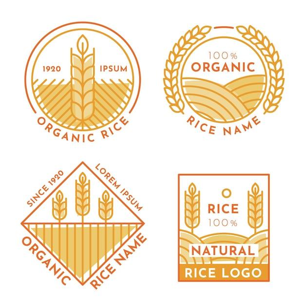 Conjunto de modelos de logotipo de arroz Vetor grátis