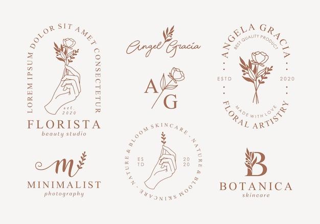 Conjunto de modelos de logotipo feminino mão desenhada Vetor Premium