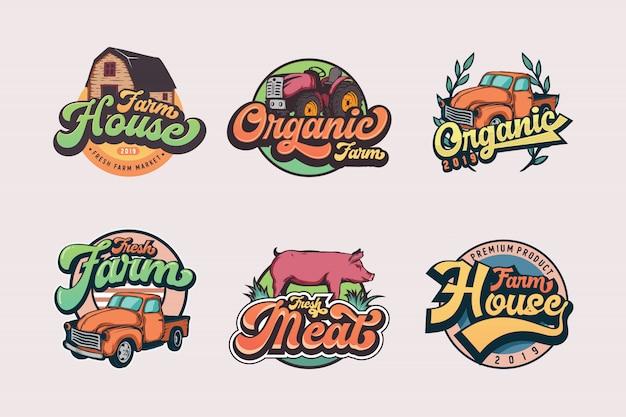 Conjunto de modelos de logotipo vintage agricultor Vetor Premium