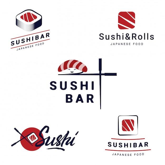 Conjunto de modelos de logotipos de sushi bar. objetos de vetor e ícones para restaurantes de comida japonesa Vetor Premium