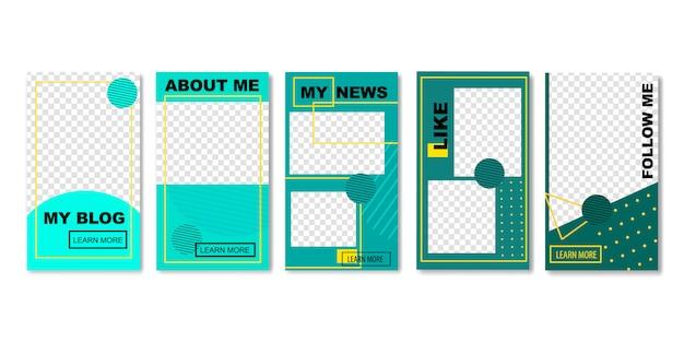 Conjunto de modelos de mídia social para fotos para o blog. Vetor Premium