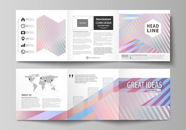Conjunto de modelos de negócios para brochuras quadrado tri dobra Vetor Premium