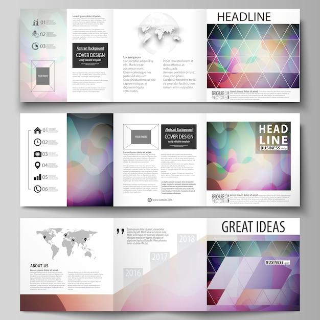 Conjunto de modelos de negócios para brochuras quadrados tri. Vetor Premium