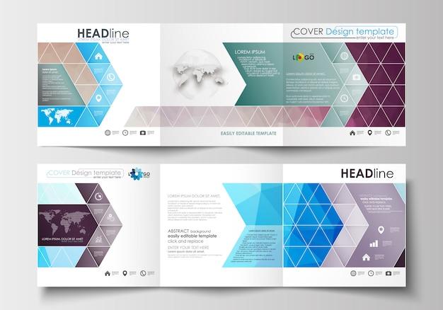 Conjunto de modelos de negócios para folhetos dobráveis em três partes Vetor Premium
