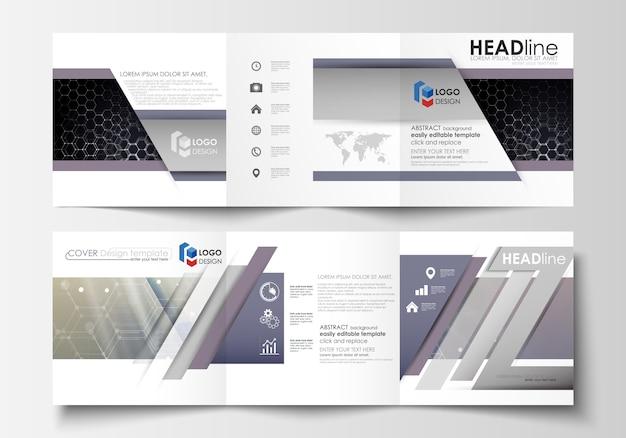 Conjunto de modelos de negócios para folhetos dobrável em três partes. Vetor Premium