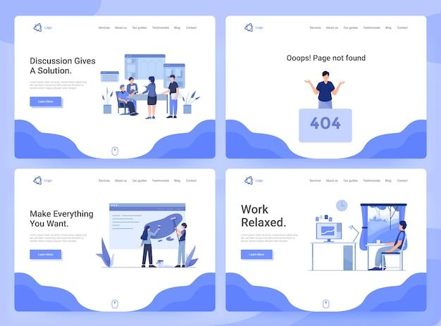 Conjunto de modelos de página da web de aplicativos de negócios, pesquisa, discussão e desenvolvimento, página 404 Vetor Premium