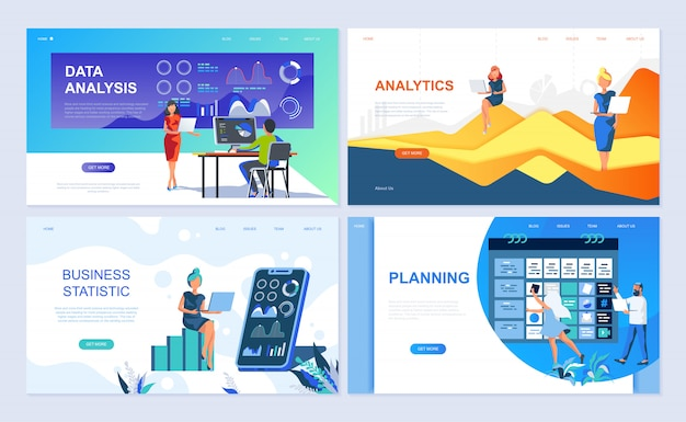 Conjunto de modelos de página de destino para análise de dados Vetor Premium