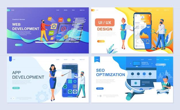 Conjunto de modelos de página de destino para desenvolvimento de web e aplicativos Vetor Premium