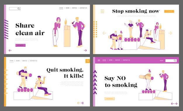 Conjunto de modelos de página de destino para fumantes e dependência de fumo Vetor Premium