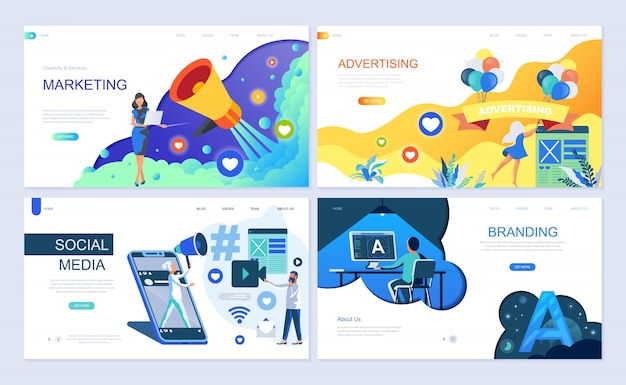 Conjunto de modelos de página de destino para marketing digital Vetor Premium