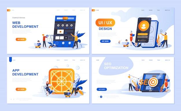 Conjunto de modelos de página de destino para web e desenvolvimento de aplicativos, design de interface do usuário, otimização de seo Vetor Premium