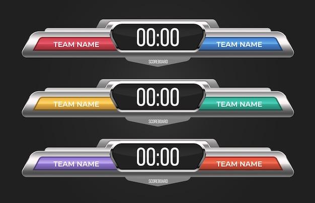 Conjunto de modelos de placar. com display eletrônico para pontuação e espaço para nomes de times. pode ser usado para barras de esporte, jogo de críquete, beisebol, basquete, futebol, partidas de hóquei Vetor grátis