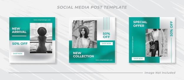 Conjunto de modelos de post instagram minimalis Vetor Premium