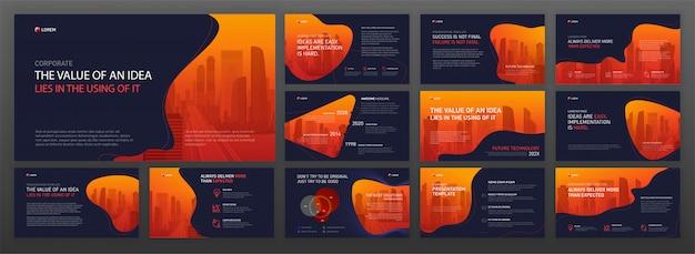 Conjunto de modelos de powerpoint de apresentação de negócios Vetor Premium
