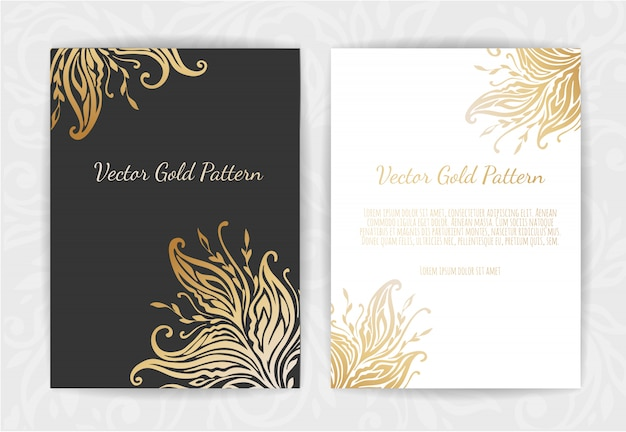 Conjunto de modelos de preto e dourado Vetor Premium