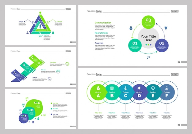 Conjunto de modelos de slide de cinco gerenciamento Vetor grátis