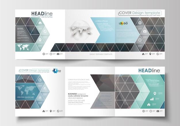Conjunto de modelos para folhetos dobráveis em três partes. design quadrado. Vetor Premium