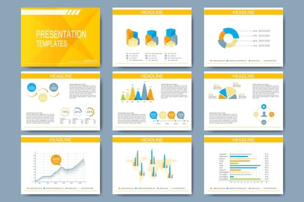 Conjunto de modelos para slides de apresentação. Vetor Premium