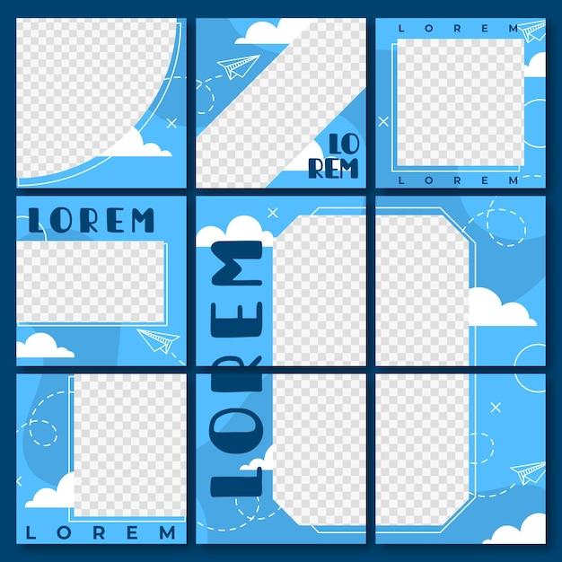 Conjunto de modelos quadrados de feed de quebra-cabeça do instagram Vetor Premium