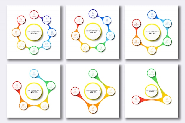 Conjunto de modelos simples infográfico com ícones de marketing em branco Vetor Premium