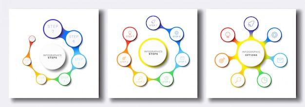 Conjunto de modelos simples infográfico Vetor Premium