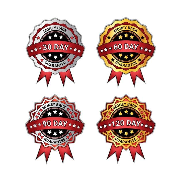 Conjunto de moedas de ouro e prata dinheiro de volta em 90 dias de garantia isolada coleção de selos Vetor Premium