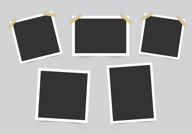 Conjunto de moldura de foto. maquete para suas fotos. Vetor Premium