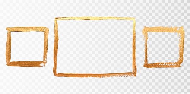 Conjunto de moldura quadrada de ouro Vetor Premium
