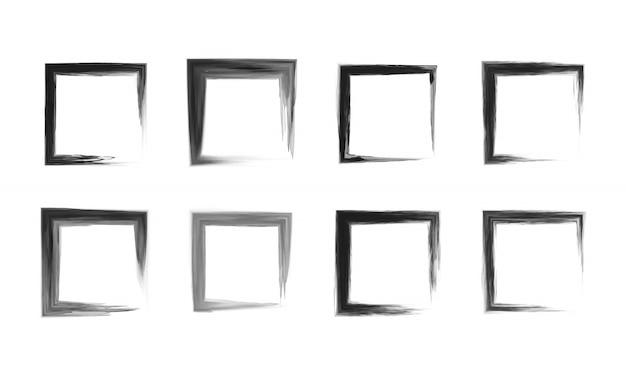 Conjunto de moldura quadrada preta. Vetor Premium