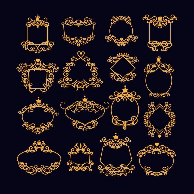 Conjunto de moldura vintage ouro Vetor grátis