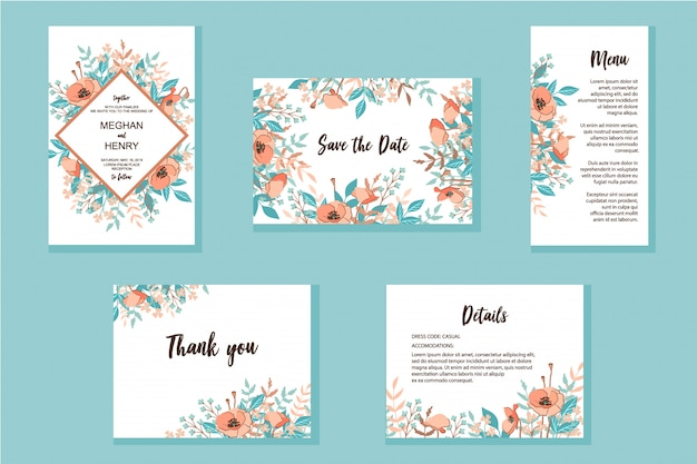 Conjunto de molduras de convite de casamento Vetor Premium