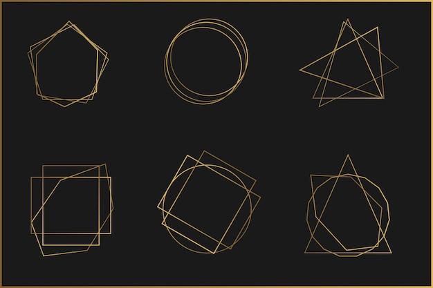 Conjunto de molduras de elementos de design de cristal brilhante Vetor Premium