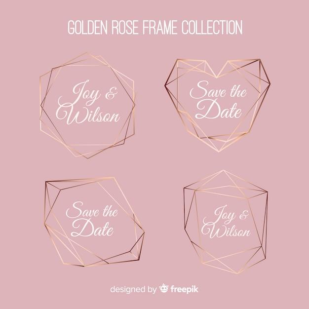 Conjunto de molduras de ouro rosa textura metálica Vetor grátis