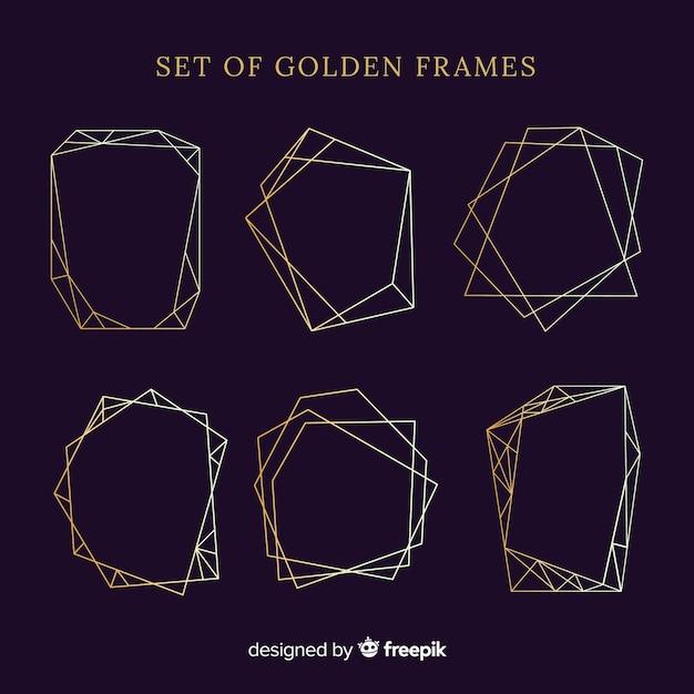 Conjunto de molduras douradas Vetor grátis