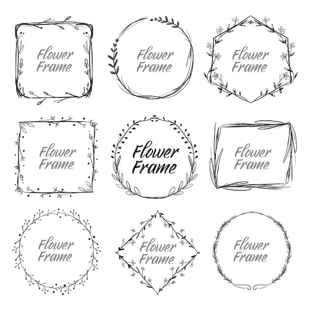 Conjunto de molduras florais vintage desenhadas à mão Vetor Premium