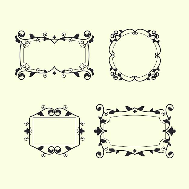 Conjunto de molduras ornamentais retrô Vetor grátis