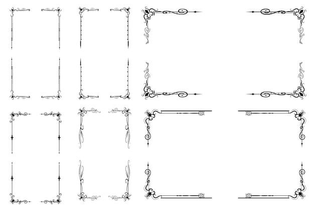 Conjunto de molduras ornamentais vitoriana Vetor Premium